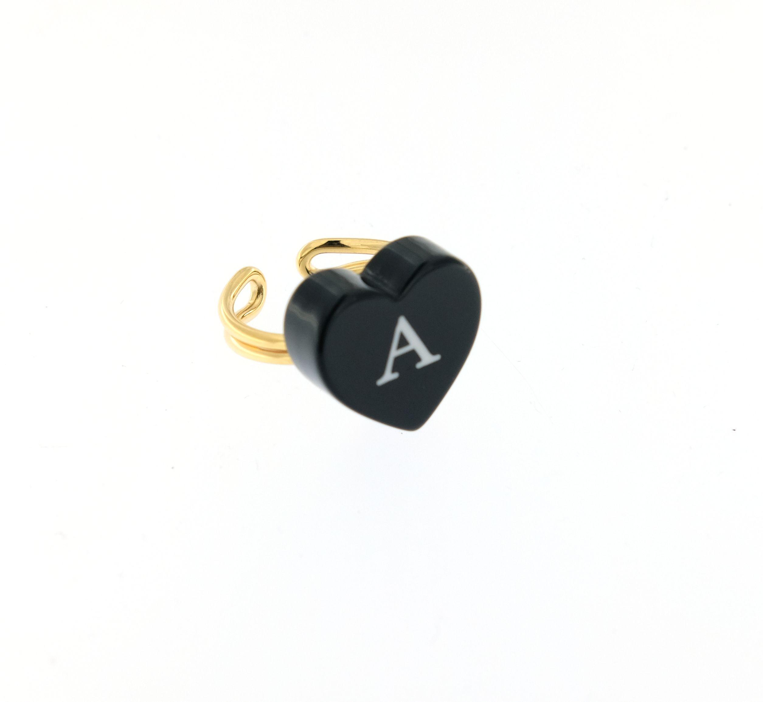 anello pandora con cuore nero