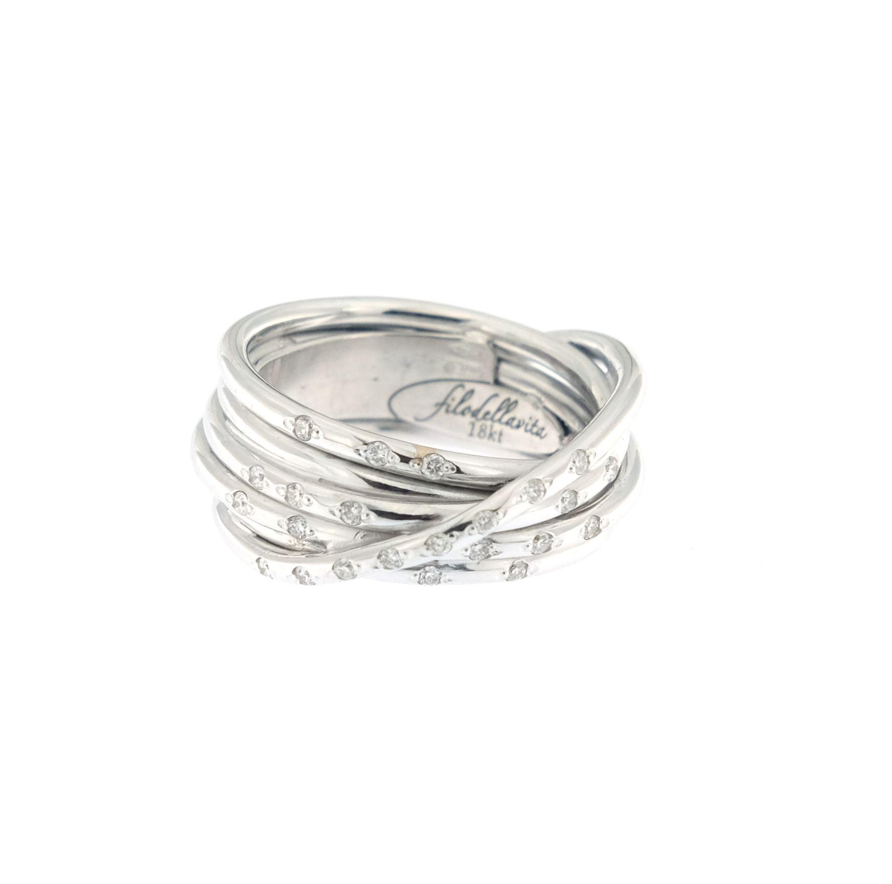 selezione premium 0ce9a 1124b Anello Filodellavita Leda Collection 7 fili oro bianco e diamanti