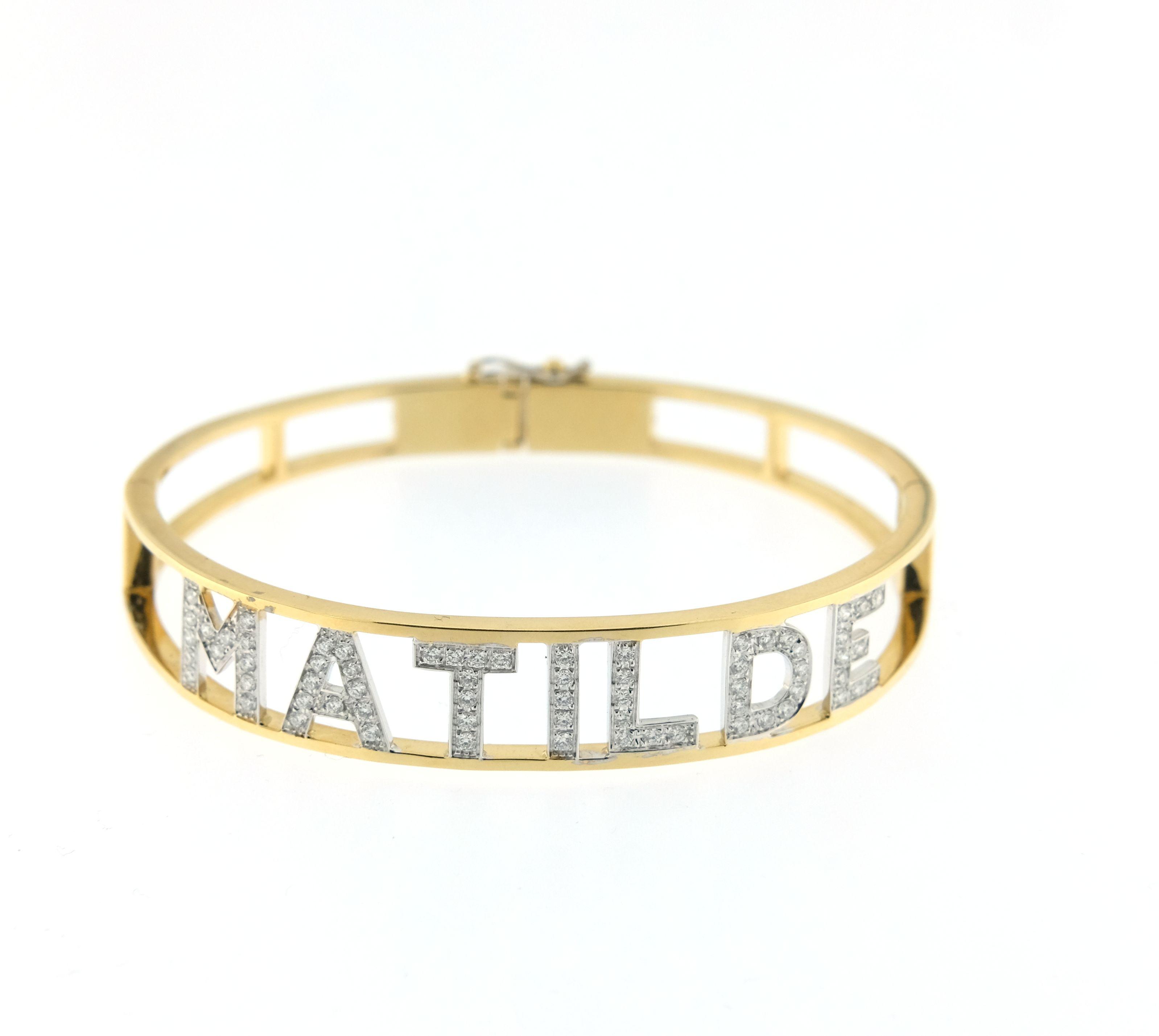 pacchetto elegante e robusto promozione speciale autentico Bracciale Crivelli con nome in brillanti personalizzabile oro giallo