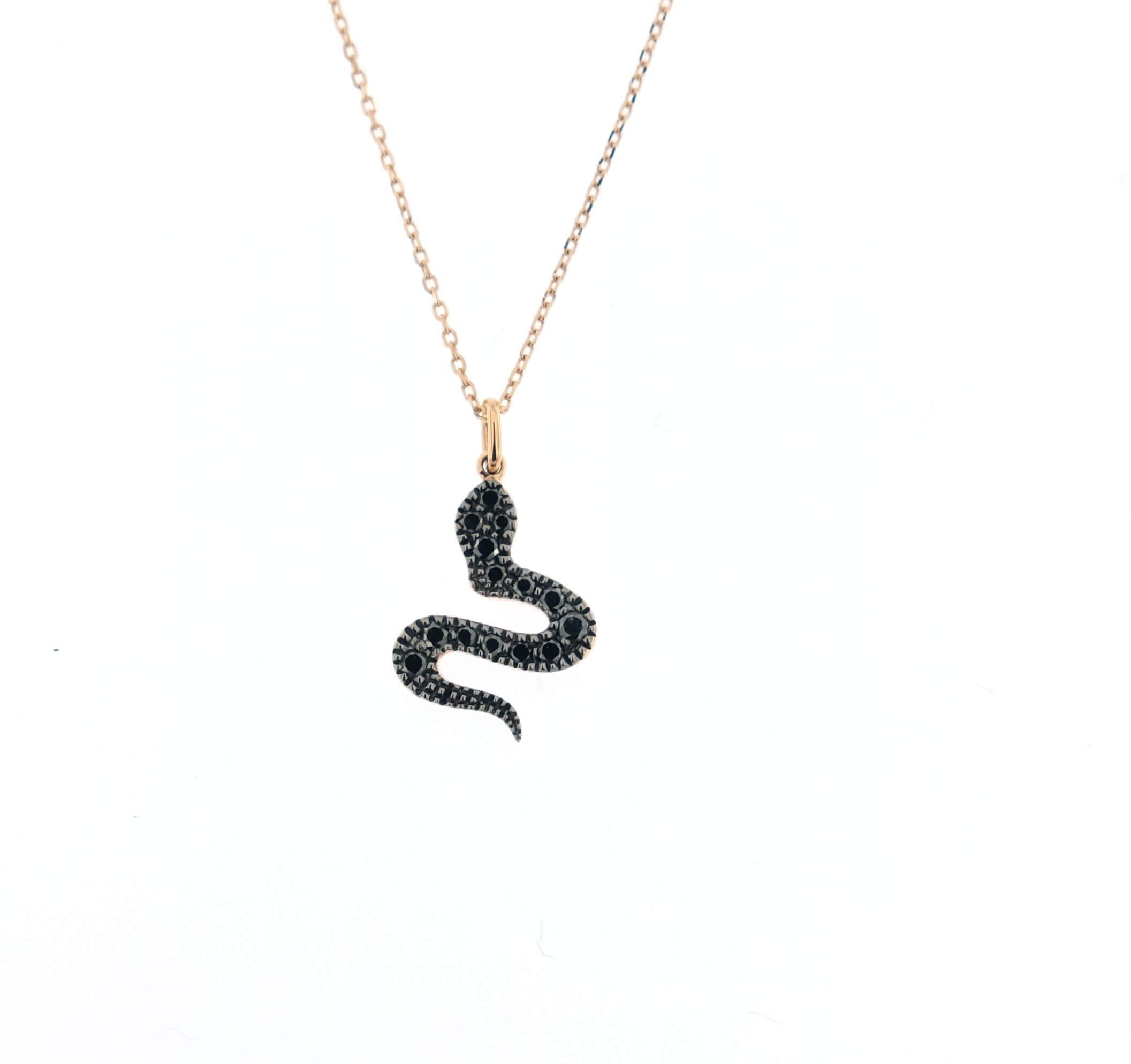 comprare popolare 3407e b57c2 Collana Labor oro rosa con serpente in diamanti neri e catenina rolò
