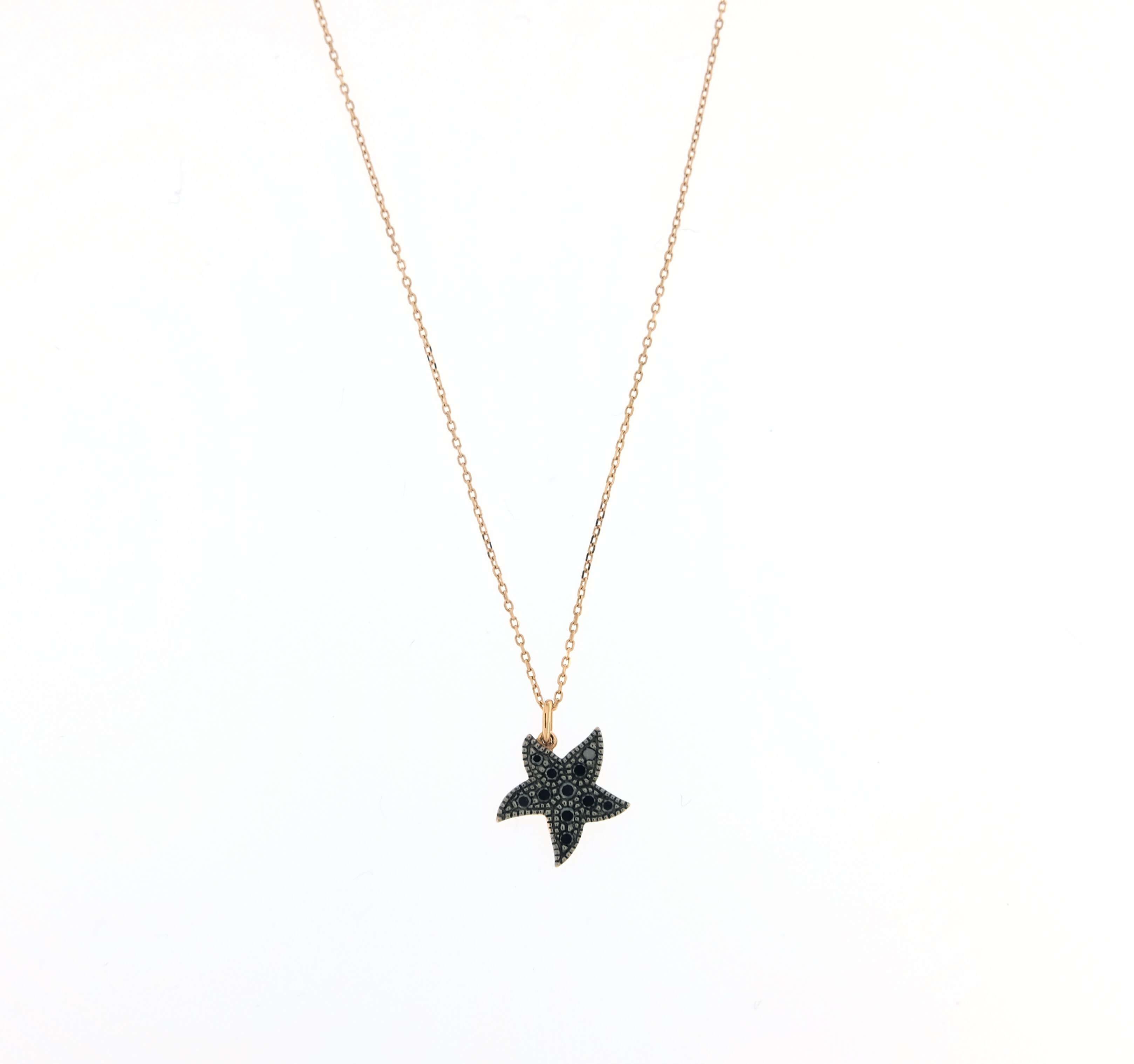 selezione migliore 0777e dd89f Collana Labor oro rosa con pendente stella in diamanti neri e catenina rolò