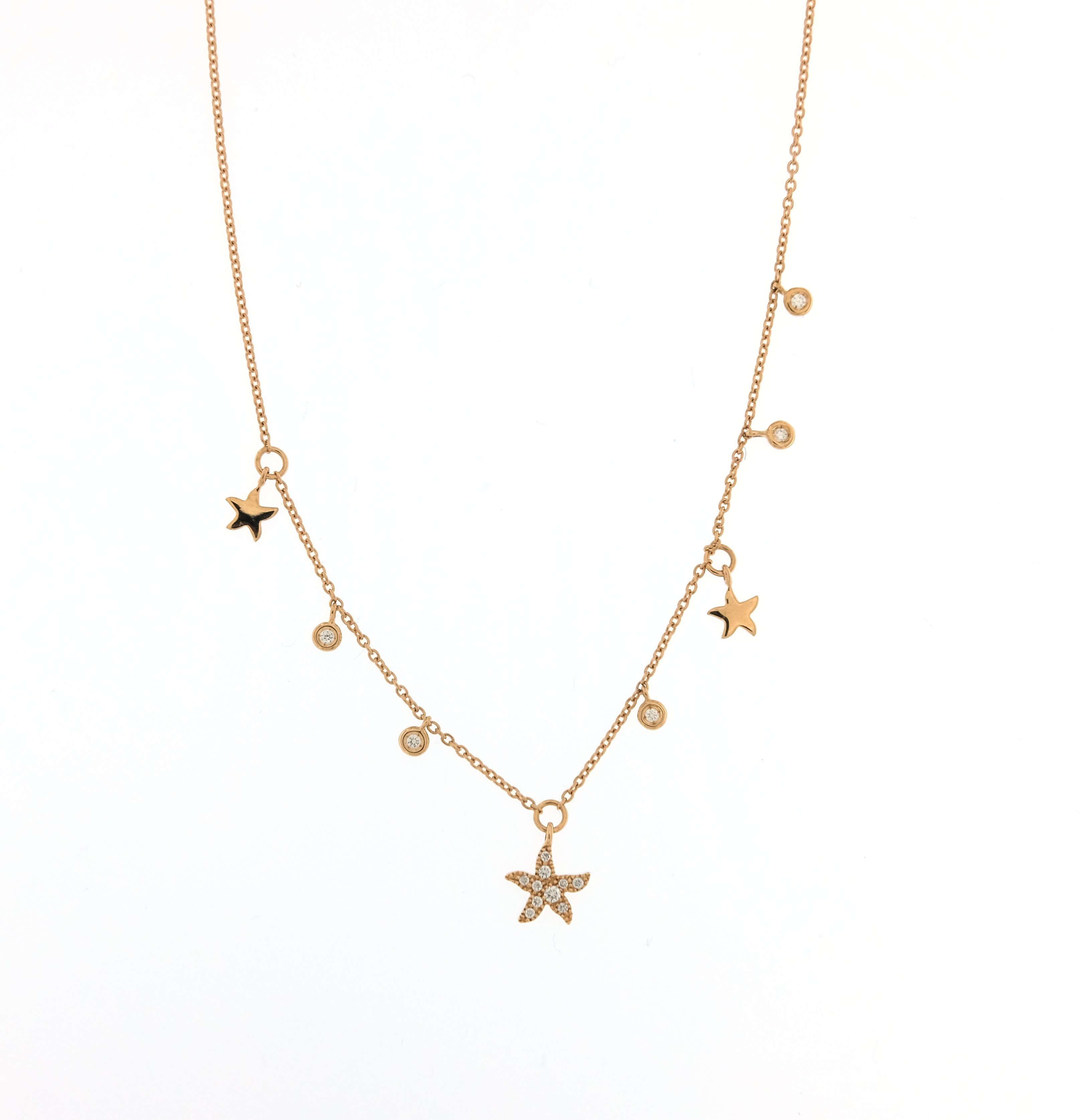 più amato e0d98 08219 Collana Labor oro rosa pendete stella e micro pendenti punto luce e stelline