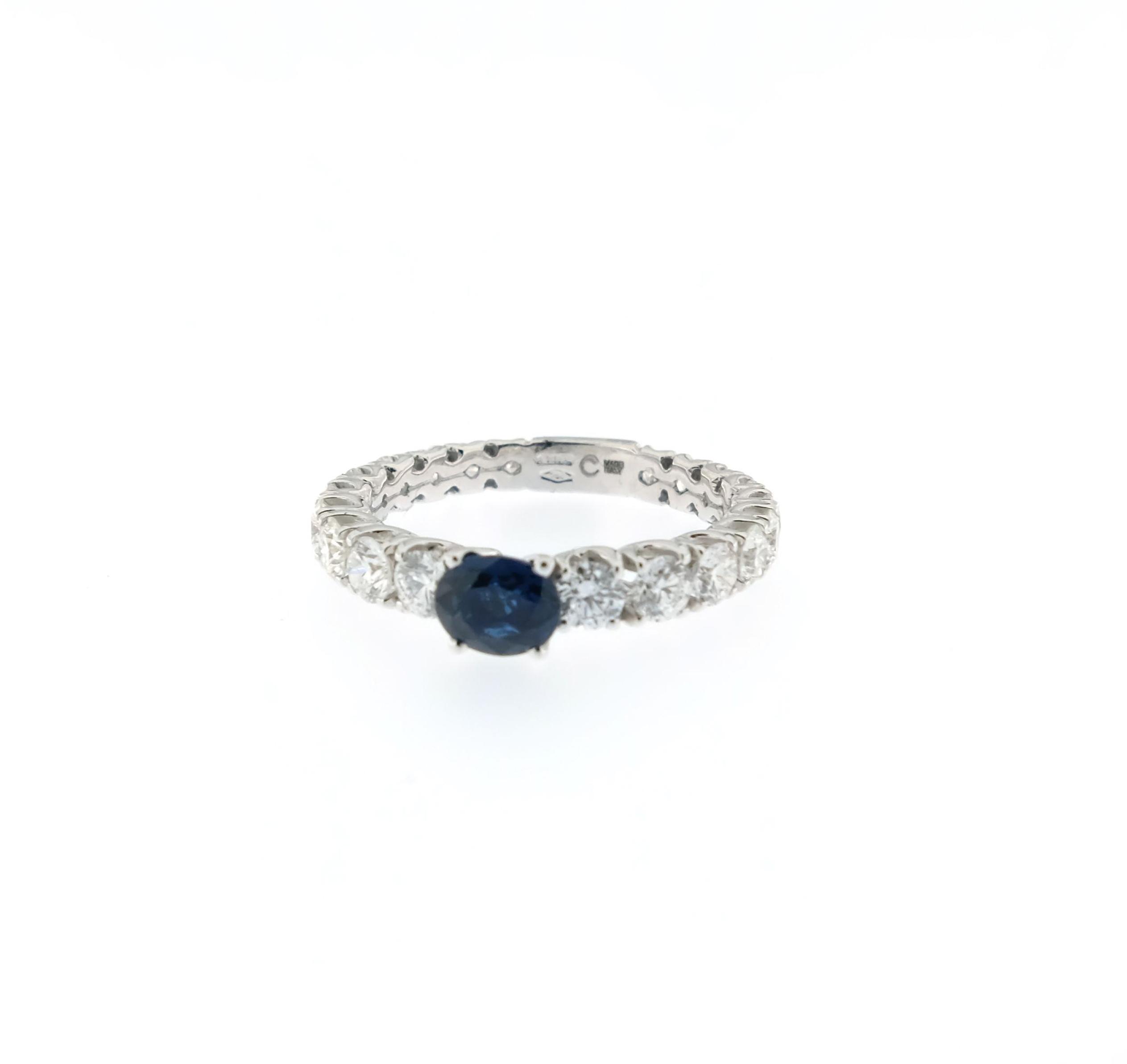 design di qualità 862c9 01f92 Anello Crivelli riviera zaffiro centrale e diamanti bianchi