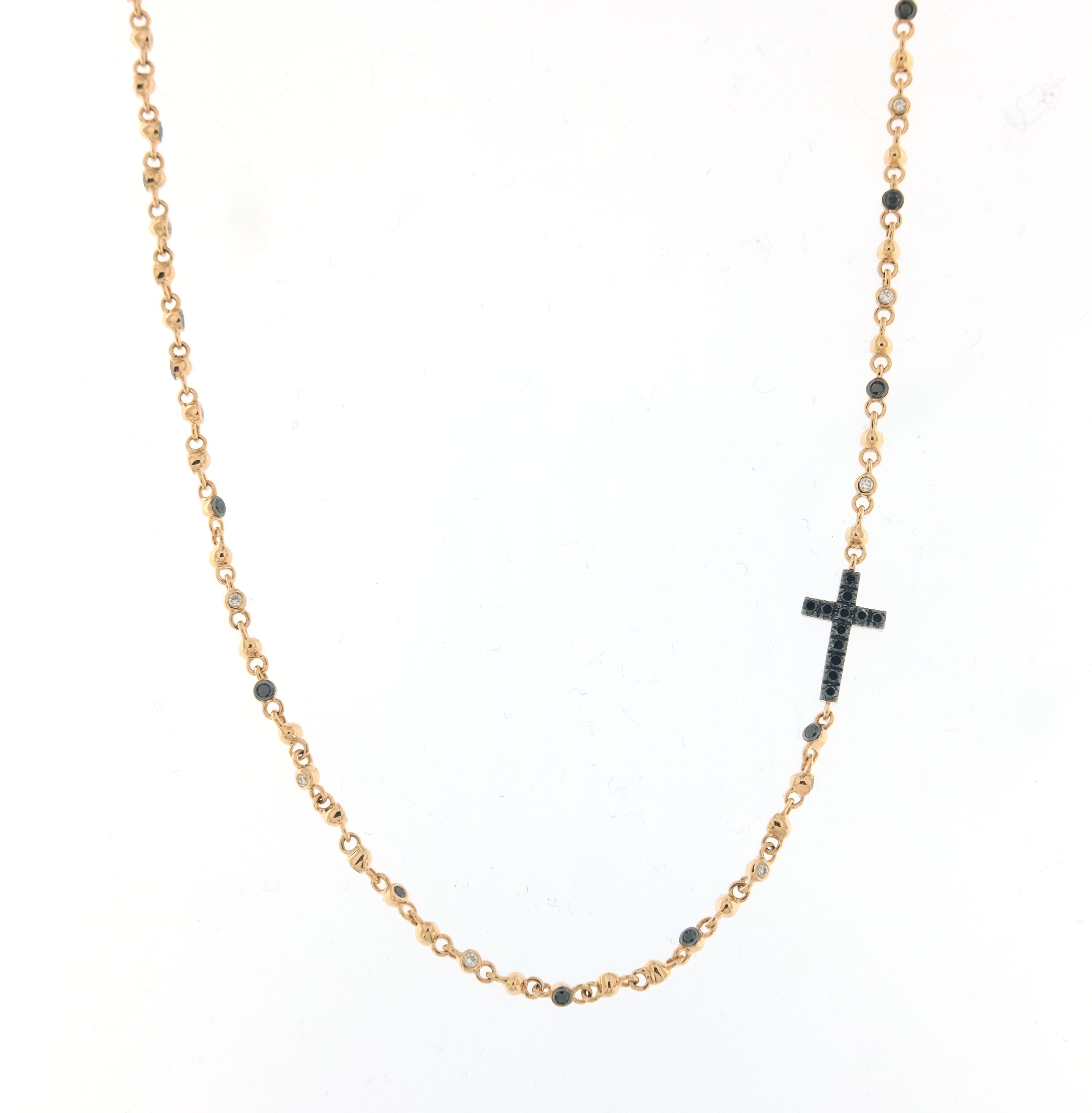 comprare popolare 2a141 eff8f Girocollo Crivelli in oro rosa con croce double diamanti neri e bianchi