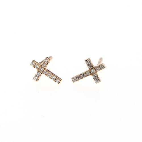 selezione migliore de70d f5eb4 Orecchini Crivelli croce oro rosa e/o oro bianco con diamanti bianchi